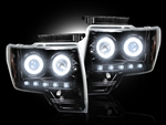 Ford F-150 & Raptor 09-13 PROJECTOR HEADLIGHTS Smoked Black Chrome ADD-264190BKCC