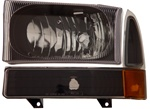 1999-2007 Ford Super Duty Crystal Set Headlights, Black, by AnzoUSA