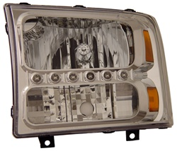 1999-2007 Ford Super Duty 1 pc. Headlights, Chrome, by AnzoUSA