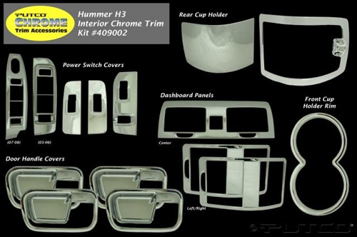 Hummer H3 2006 2007 Abs 15pc Chrome Interior Trim Kit By Putco H3t 09 10