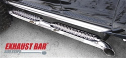 RealWheels HUMMER H2 S.S. Exhaust Bar Side Steps with S.S. Upper Tube Facade, with LED Lighted Back Plate