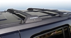 Hummer H3 Roof Rack Cross Bars OEM Style w/ HUMMER Letters inserts - Black Bar Finish