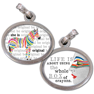 jewelry charm gives a beautiful reminder to be original and color life with the whole box of crayons