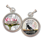 Namaste, yoga inspired jewelry photo charm reads