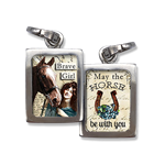 equestrian jewelry charm features a woman with a horse