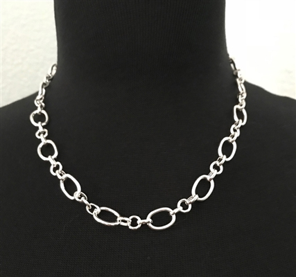 Silver-Plated Oval Link Necklace 18""