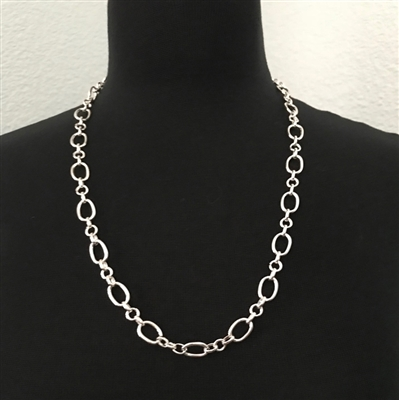 Silver-Plated Oval Chain Link Necklace 24""