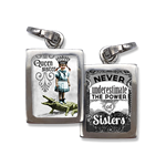 """Never underestimate the power of sisters"" the ""Queen Sister"",  Photo charms, Pick Up Sticks Jewelry, Collage charms, Photo jewelry, Vintage Photo charms, Photo charms, Pick Up Sticks Jewelry, Collage charms, Photo jewelry, Vintage Photo charms"