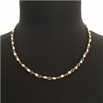 Silver and Gold  Rosary Necklace 18""