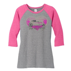Hot Rod Honey Women Baseball Jersey PINK/ASH