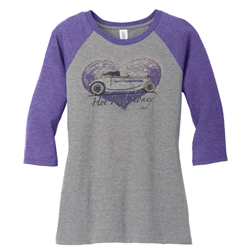 Hot Rod Honey Women Baseball Jersey PURPLE/ASH