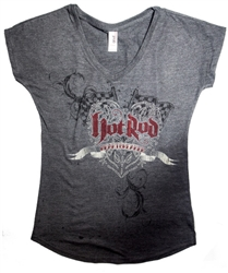 Hot Rod Heartbreaker V-Neck Charcoal