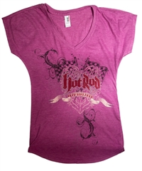 Hot Rod Heartbreaker V-Neck Fuchsia