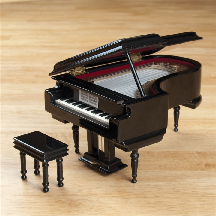 Black Grand Piano Music Box