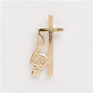 G-Clef with Cross Music Pin