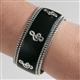 Black Leather & Metal Treble Clef Cuff Bracelet