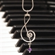 Silver & Amethyst Treble Clef Necklace