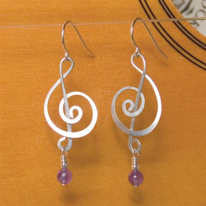 Silver Amethyst Treble Clef Earrings