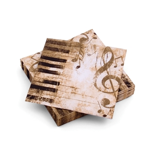 Keyboard and Music Beverage Napkins