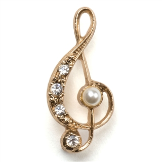 Treble Clef Pearl and Crystals Pin