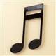 Sleek Black 16th Note Wall Plaque