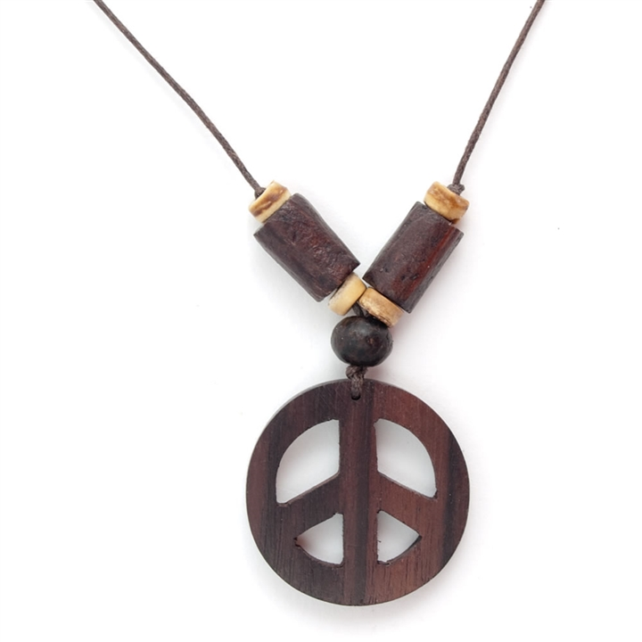 2402631cf Wood Peace Sign Necklace at The Music Stand