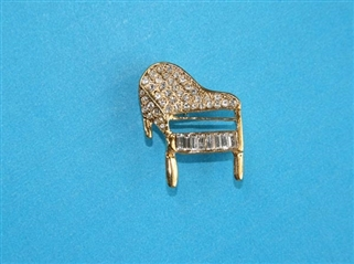 Grand Piano with Crystals Pin