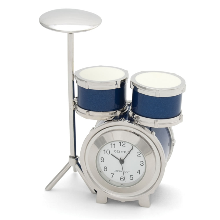 Mini Drumset Desk Clock At The Music Stand