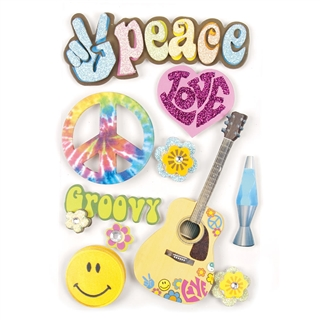 Peace & Love 3-D Stickers