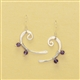 Silver & Amethyst Bass Clef Earrings