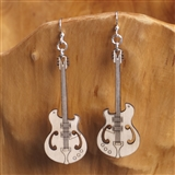 Laser-Cut Wood Guitar Earrings