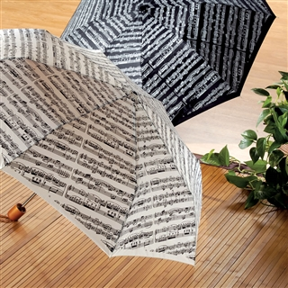 Sheet Music Black Compact Umbrella