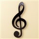 Sleek Black Treble Clef Wall Plaque