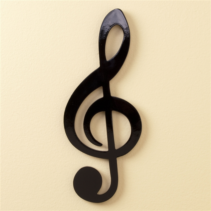 sleek black treble clef wall plaque