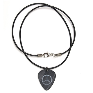Recycled Vinyl Peace Pick Necklace