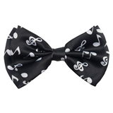 White on Black Music Notes Bow Tie