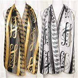 Treble Clef Satin Scarf