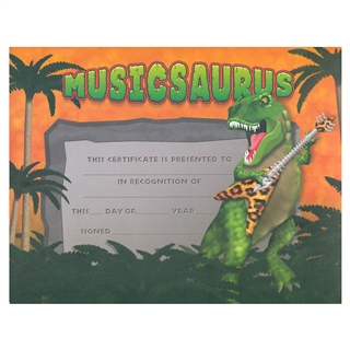 Musicsaurus Recognition Certificates