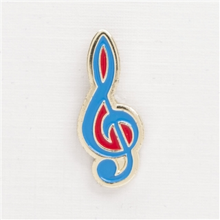 Red & Blue Enamel G-Clef Pin
