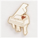 White Grand Piano Enamel Pin
