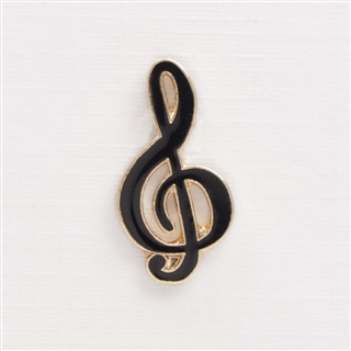 Black G-Clef Enamel Pin