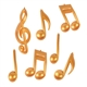 Gold 3-D Music Notes and Clef Set