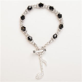 Silver and Black Eighth Note Toggle Bracelet