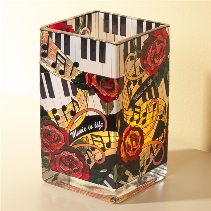 Music Is Life Square Glass Vase At The Music Stand