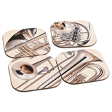 Brass Quartet Coasters Set With Stand