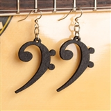 Laser-Cut Wood Bass Clef Earrings