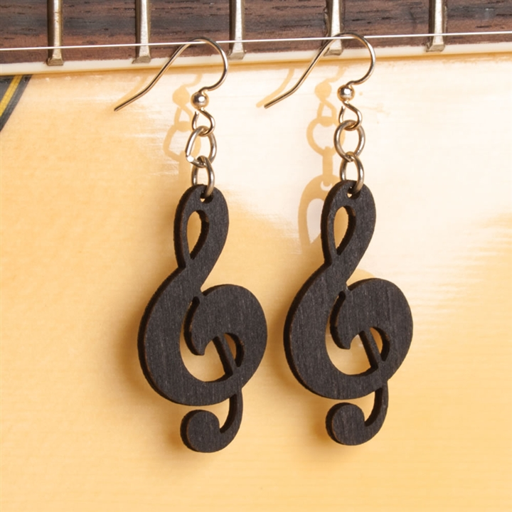 Laser Cut Wood Treble Clef Earrings