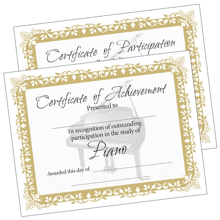 Piano Certificates, Set of 10 at The Music Stand
