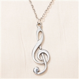English Pewter Treble Clef Necklace