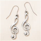 English Pewter Treble Clef Earrings